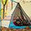 さて、おにぎりができるまで各家族が泊まったテントを紹介! 関家は、新製品「LOGOS ナバホPANEL ダブルTepee 500-AE」。