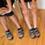 はじめてクライミングシューズを履いた感想は? 「いつも履いてるクツとはぜんぜん違う感じ」(唯ちゃん)。