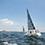 レースをしているヨットはやっぱりカッコいい! 波は穏やかでしたが、すこし風が弱く難易度が高いとのこと。Enjoy Fighting!
