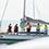 タモリさんは「みらいへ」に乗船。これから各ヨットがタモリさんにパフォーマンスを披露する恒例行事「海上パレード」が始まります。