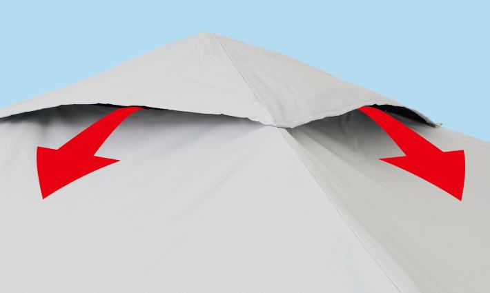 突風に強い VENT TOP SYSTEM採用
