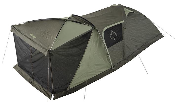 寝室とダブルリビングルームを兼ね備えた新型テント