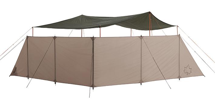 風からタープやテントを守り、プライベートも守れる