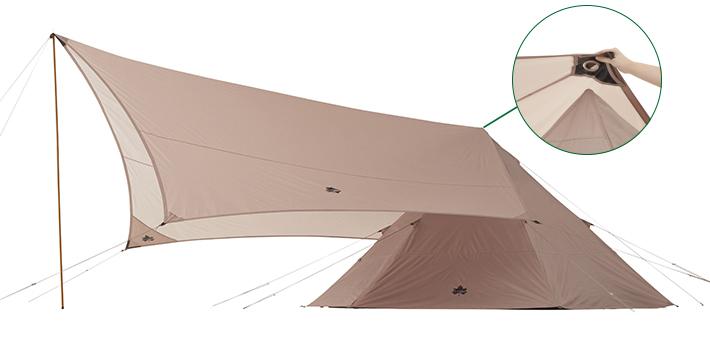 Tepeeと簡単にリンクするヘキサ型タープ