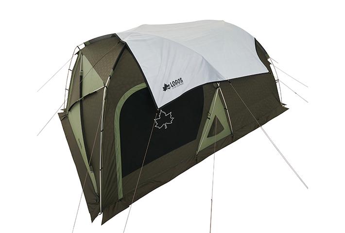 日中テントに被せて室内温度の上昇を抑えます