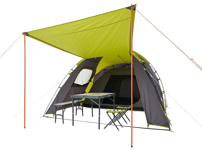 2ルームテントだからこそ実現できる広いリビングスペース