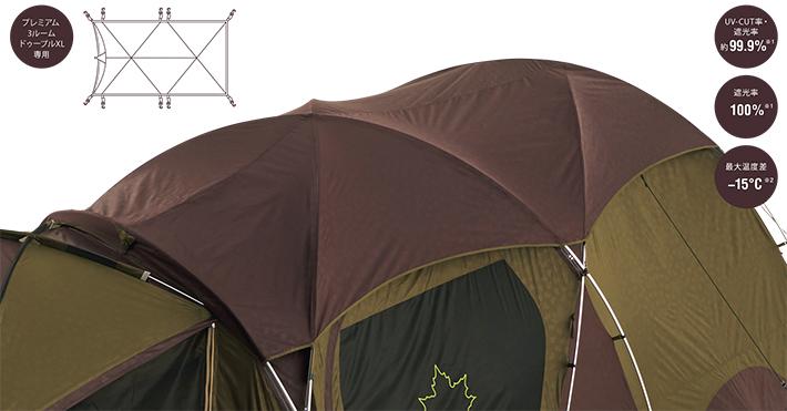 最大15℃の外気との温度差を生み出す生地採用、テントの上部にセットするだけのオプションパーツ