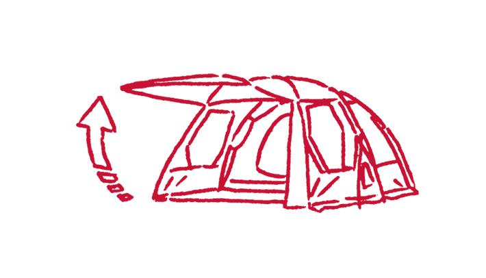 テントの強度をUPさせる「筋交い構造」