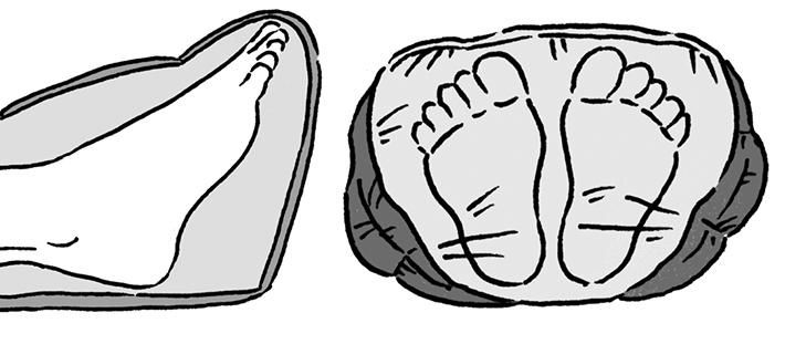 足元の圧迫を和らげるフットアングルストラクチャー構造