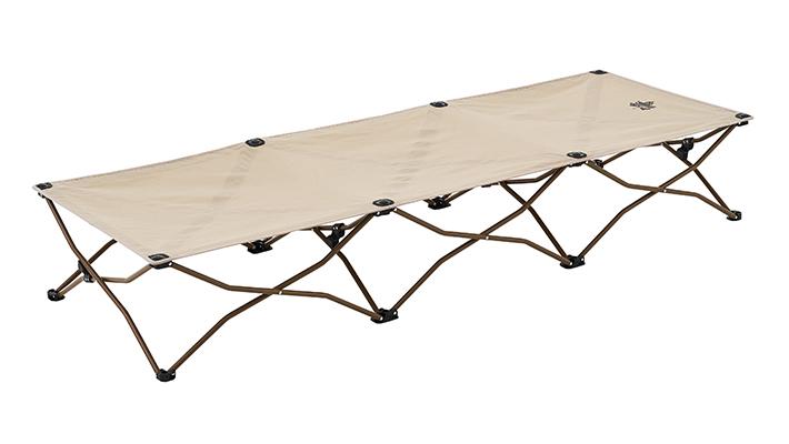 収束型のフレームでスピーディに設営・撤収できるベッド