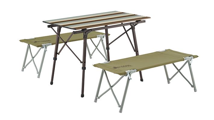 フレームをひろげるだけの簡単組立て!家族で使えるテーブルセット。