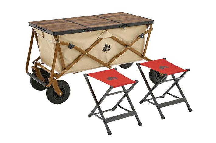 キャリーカートをテーブルに。便利なチェア付き!