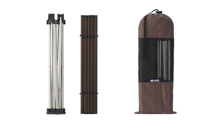 収納袋付きで持ち運びやすいコンパクト収納