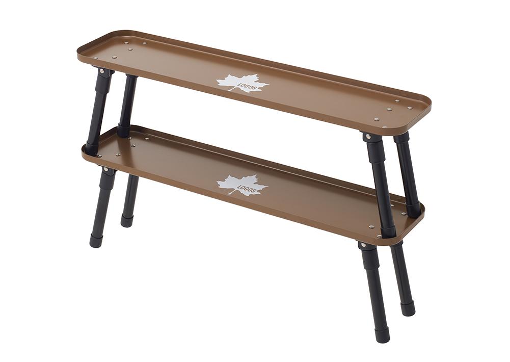 重ねるとラックになる!たき火サイドで便利なトレー型スリムテーブル。