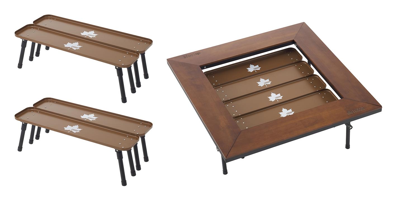 本品2セット(テーブル4個)を使用すると、囲炉裏テーブルと相性ぴったり