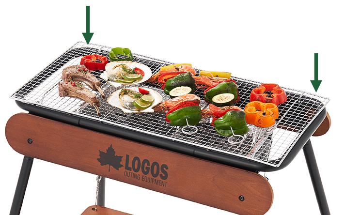 焼網に、うれしい肉休めスペース!