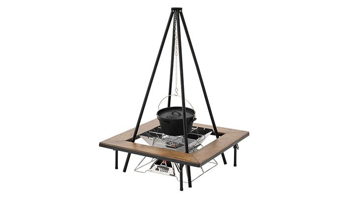 吊り鍋料理やたき火が楽しめる