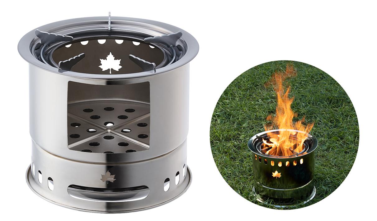 たき火、カマド調理、七厘が楽しめる、重ねるだけで簡単なドラム型コンロ。