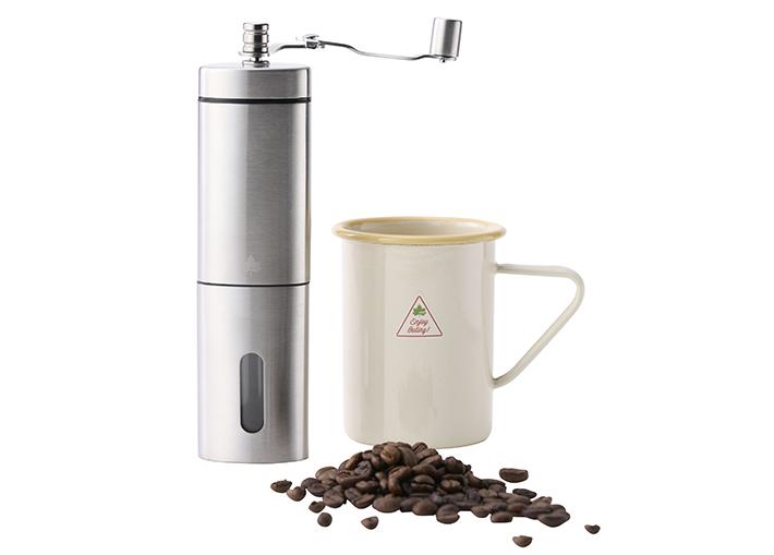 粗挽きから細挽きまで、無段階で調節できる!ハンドルが畳めるハンディコーヒーミル