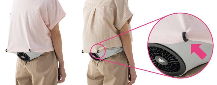 服の吸気ファン被りを防ぐフック付き