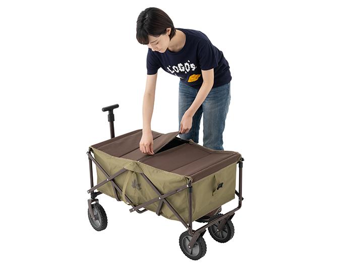 荷台部分のカバー取り付けは、簡単ファスナー